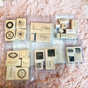 bundle of 6 sets of Stampin Up rubber stamps